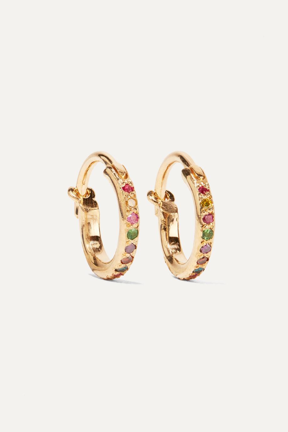 Ileana Makri Mini Rainbow Creolen aus 18 Karat Gold mit mehreren Steinen