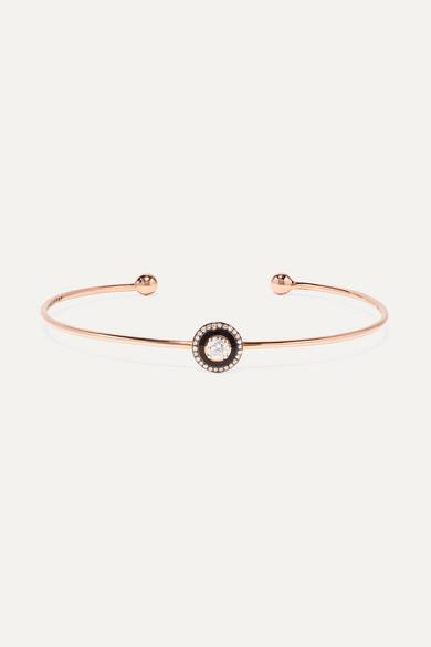 SELIM MOUZANNAR Mina 18-Karat Rose Gold, Enamel And Diamond Cuff