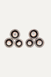 Mina 18-karat rose gold, enamel and diamond earrings