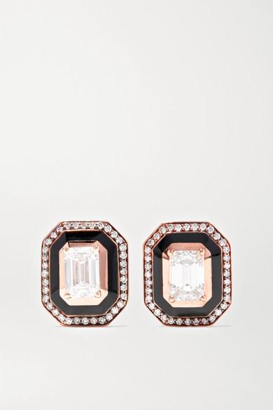 SELIM MOUZANNAR Mina 18-Karat Rose Gold, Enamel And Diamond Earrings