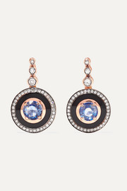 Mina 18-karat rose gold, enamel, diamond and sapphire earrings