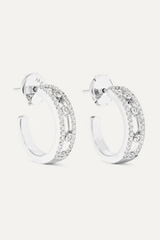 Move Pavé 18-karat white gold diamond hoop earrings