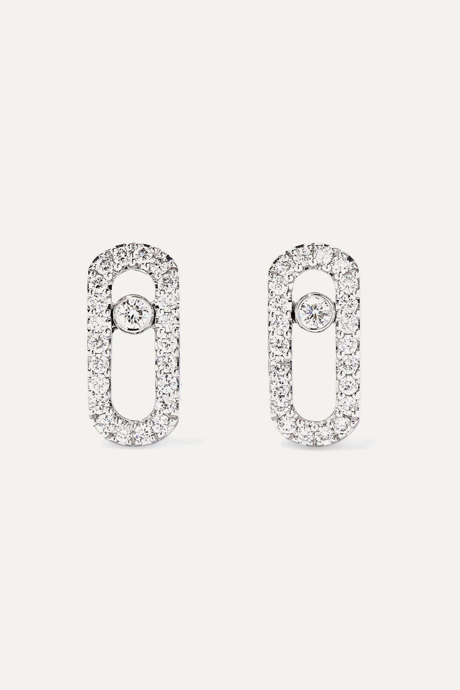Messika Move Uno 18-karat white gold diamond earrings