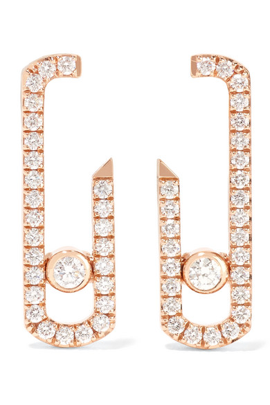 premier taux eb423 5b34c Boucles d'oreilles en or rose 18 carats et diamants Move Addiction x Gigi  Hadid