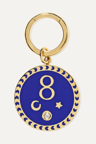 FOUNDRAE Karma 18-Karat Gold, Diamond And Enamel Pendant