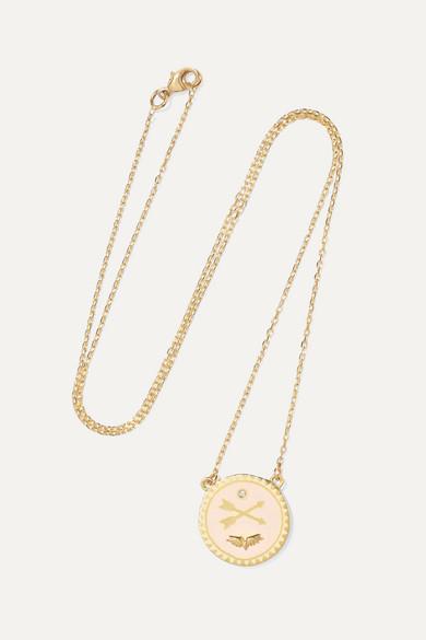 FOUNDRAE Passion Petite 18-Karat Gold, Diamond And Enamel Necklace