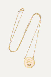 Passion Petite 18-karat gold, diamond and enamel necklace