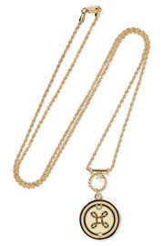 True Love 18-karat gold, diamond and enamel necklace