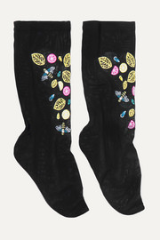 Embroidered stretch-tulle socks