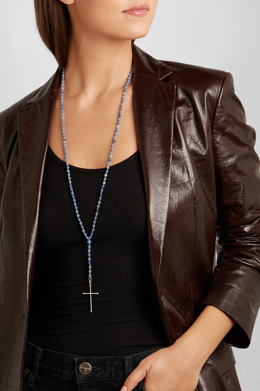 Diane Kordas 18-karat rose gold, aventurine and diamond necklace