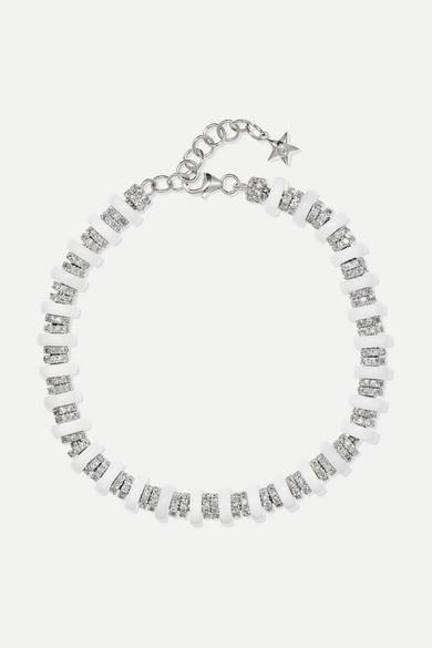 OFIRA Halo 18-Karat White Gold, Diamond And Onyx Bracelet