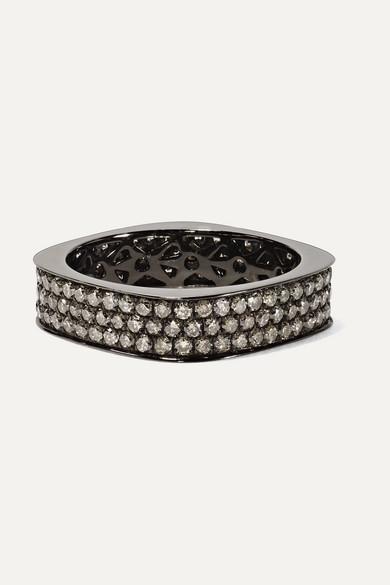 OFIRA 18-Karat Blackened White Gold Diamond Ring