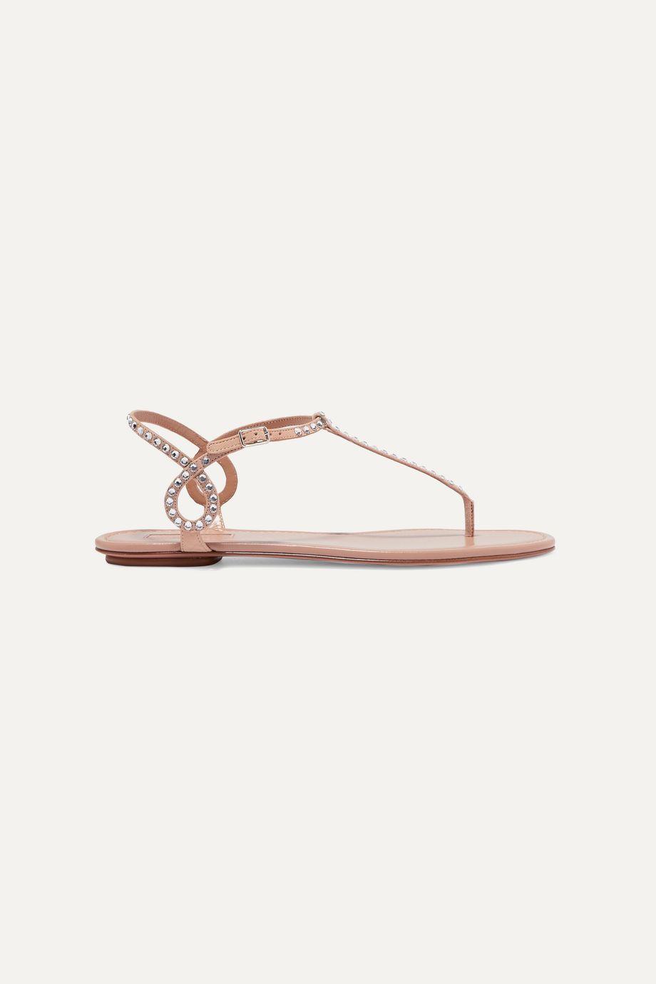 Aquazzura Almost Bare crystal-embellished leather sandals