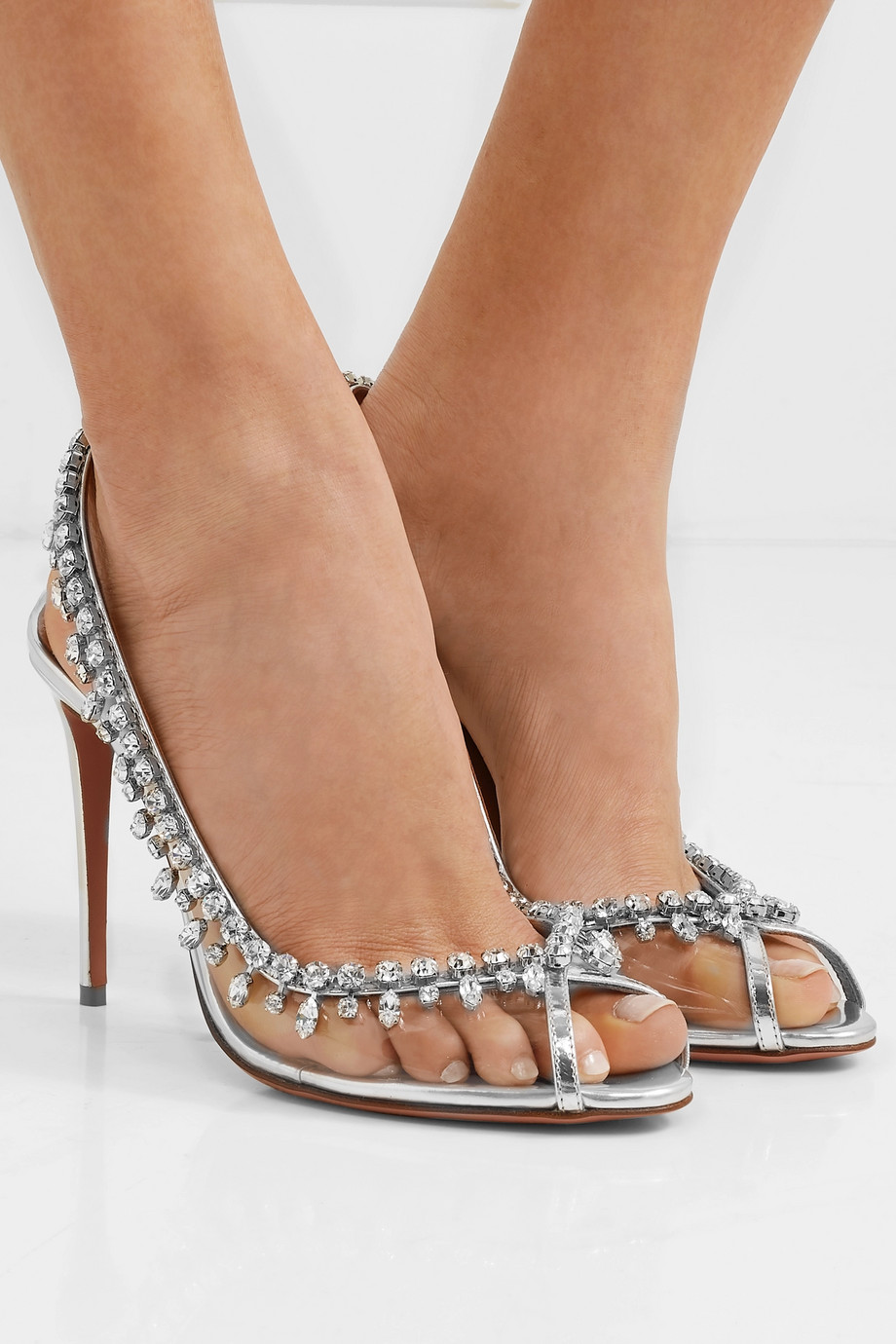 Aquazzura Temptation 105 embellished metallic leather and PVC slingback pumps