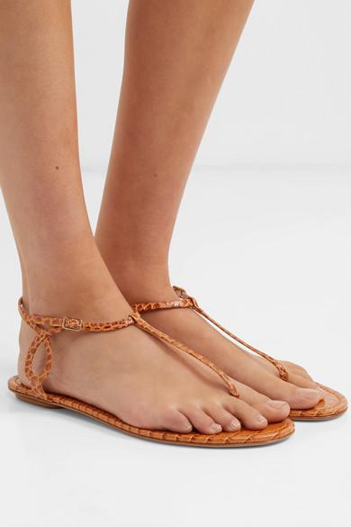 Aquazzura Sandals Almost Bare croc-effect leather sandals