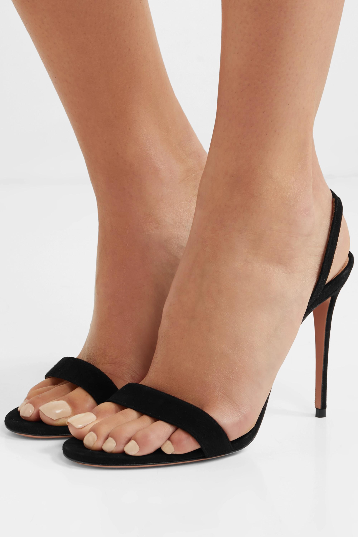 Aquazzura So Nude 105 suede slingback sandals