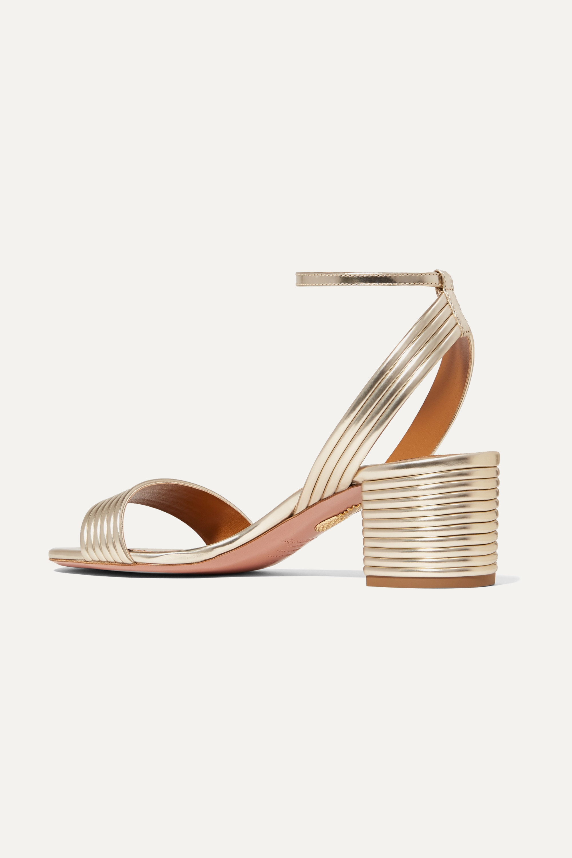 Gold Sundance 50 Metallic Vegan Leather Sandals | Aquazzura