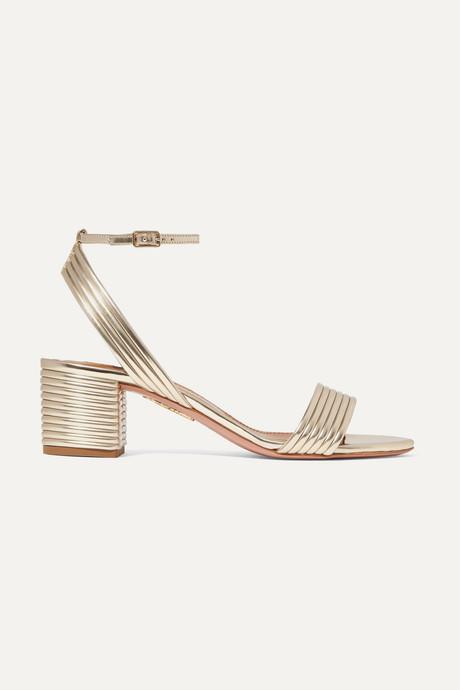 Gold Sundance 50 metallic vegan leather sandals | Aquazzura IgZTfv