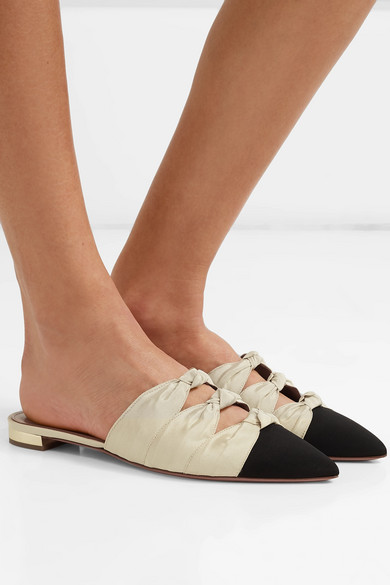 Aquazzura Shoes Mondaine two-tone knotted faille slippers