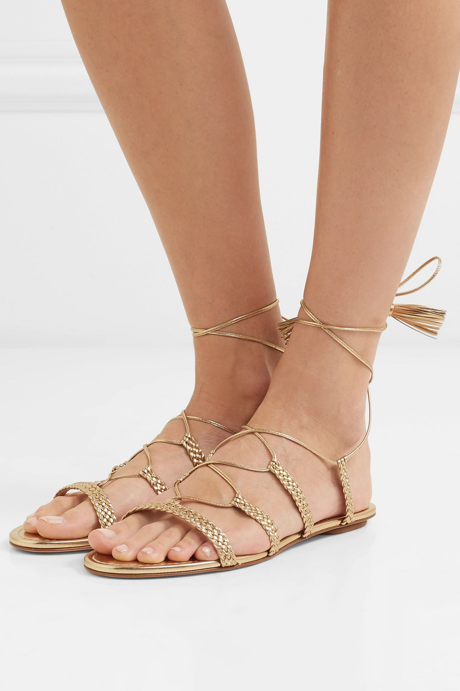 Aquazzura Stromboli braided metallic leather sandals