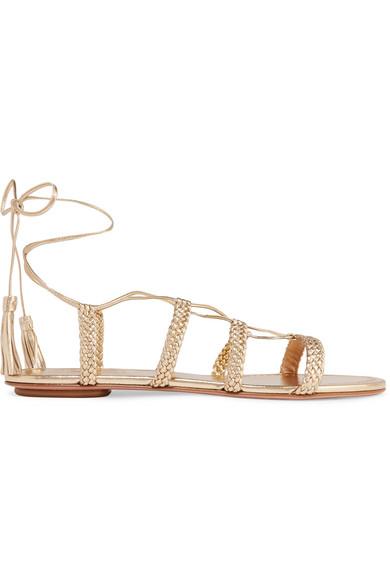 Aquazzura Sandals Stromboli braided metallic leather sandals