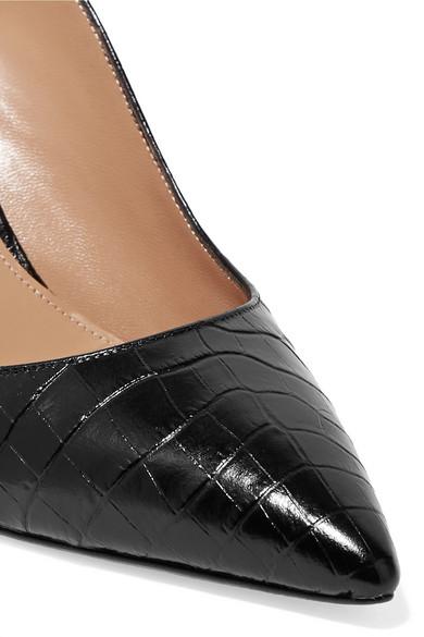 Aquazzura Pumps Yale 75 croc-effect leather slingback pumps