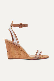 Minimalist 85 leather and PVC wedge sandals