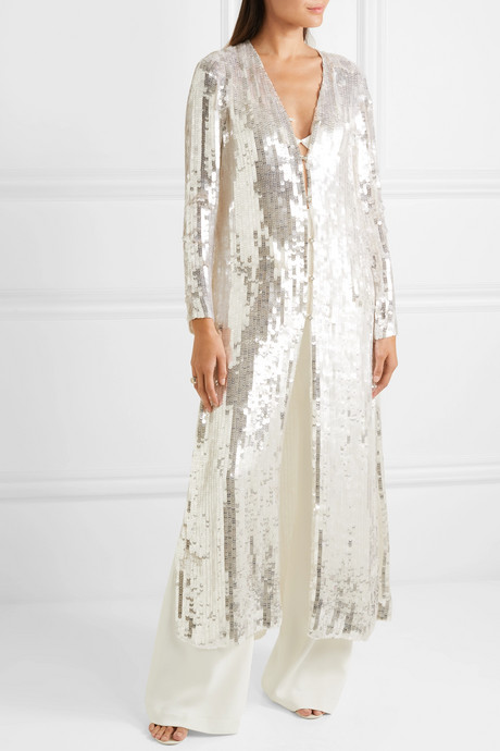 Sequined tulle robe