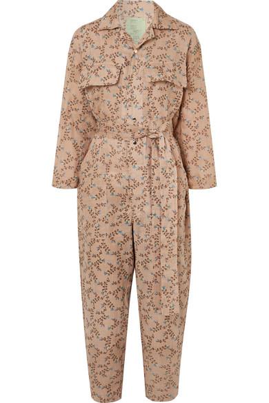 YVONNE S Floral-Print Linen Jumpsuit in Sand