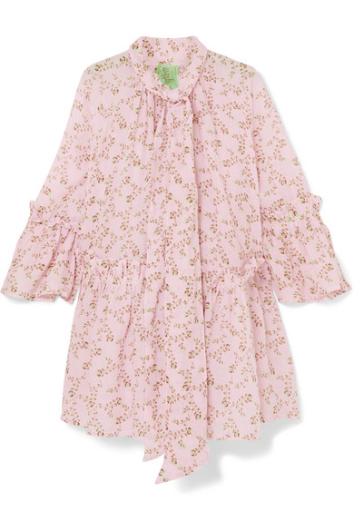 YVONNE S Angelica Ruffled Printed Linen Mini Dress in Baby Pink