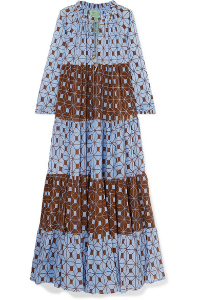 YVONNE S Tiered Printed Cotton-Voile Dress in Mid Denim