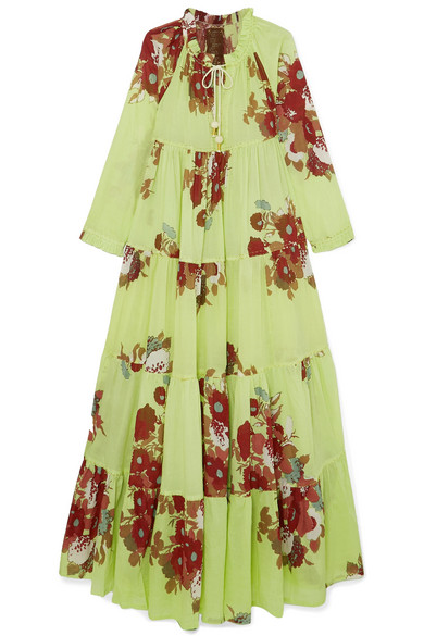 YVONNE S Tiered Floral-Print Cotton-Voile Maxi Dress in Light Green