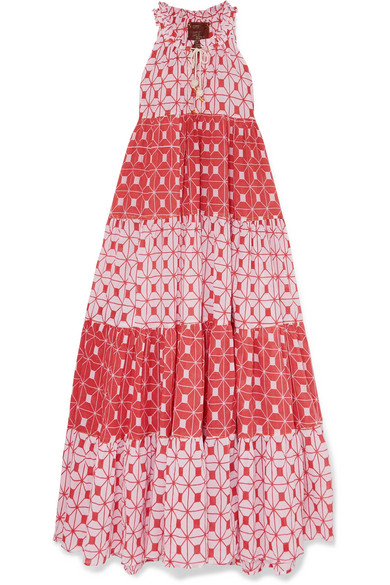 YVONNE S Tiered Printed Cotton-Voile Maxi Dress in Baby Pink