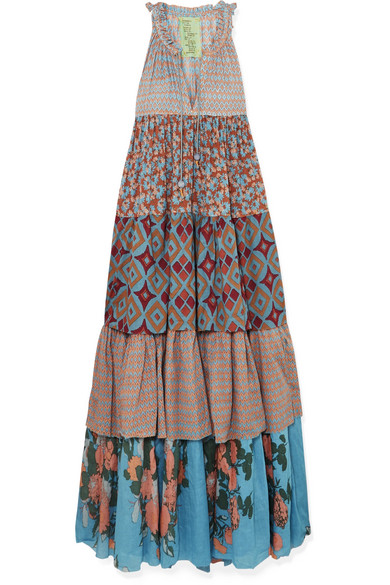 YVONNE S Tiered Printed Cotton-Voile Maxi Dress in Blue