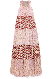 Yvonne S Tiered printed cotton-voile maxi dress