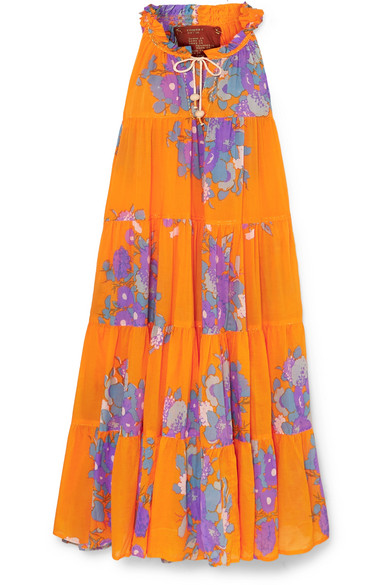 YVONNE S Tiered Floral-Print Cotton-Voile Maxi Dress in Orange