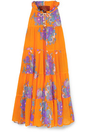 Yvonne S Tiered floral-print cotton-voile maxi dress