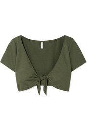 Cropped tie-front stretch-ponte top