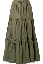Solid & Striped Tiered cotton-poplin maxi skirt