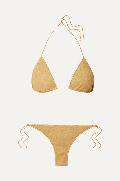 Oseree Bikini Triangle En Lurex Stretch Lumière