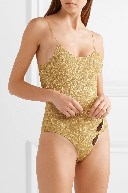 Oséree Lumière stretch-Lurex swimsuit