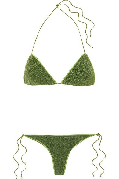 Bikini Triangle En Lurex Stretch Lumière - Vert