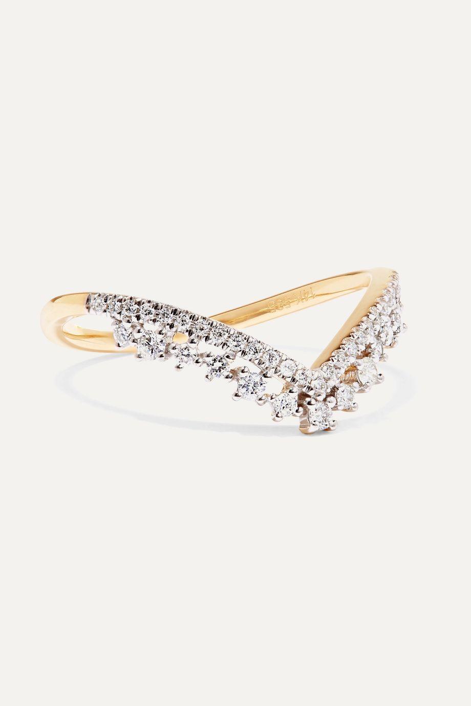 STONE AND STRAND Ring aus 14 Karat Gold mit Diamanten