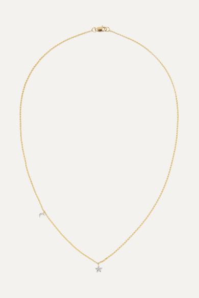 e7e4711f6 STONE AND STRAND | Moon and Star 14-karat gold diamond necklace |  NET-A-PORTER.COM