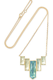 Ziggurat 18-karat gold aquamarine necklace