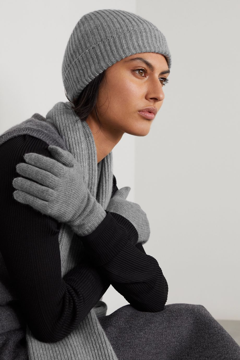 Johnstons of Elgin + NET SUSTAIN cashmere beanie, scarf and gloves set