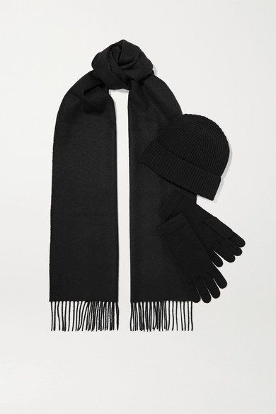 JOHNSTONS OF ELGIN Cashmere Beanie, Scarf And Gloves Set in Black