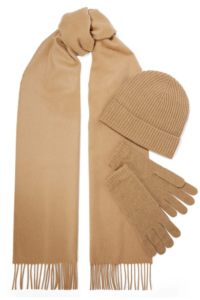 JOHNSTONS OF ELGIN Cashmere Scarf, Beanie And Gloves Set in Camel