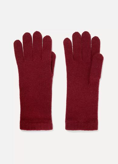 JOHNSTONS OF ELGIN Cashmere Gloves in Burgundy