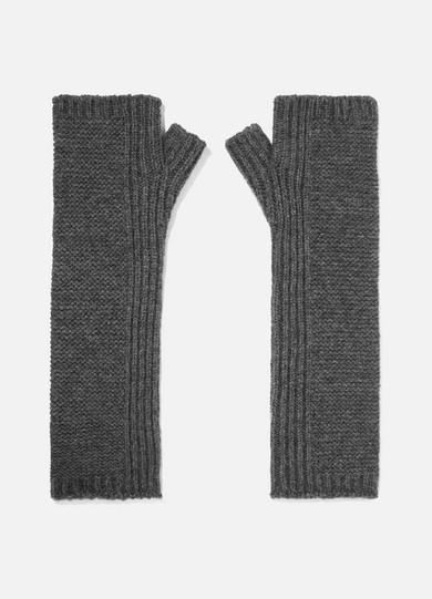 JOHNSTONS OF ELGIN Cashmere Wristwarmers in Dark Gray
